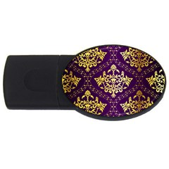 Flower Purplle Gold Usb Flash Drive Oval (4 Gb) by Mariart
