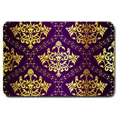 Flower Purplle Gold Large Doormat  by Mariart