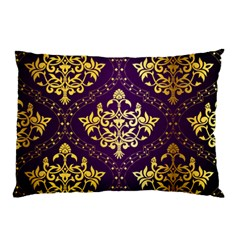 Flower Purplle Gold Pillow Case by Mariart