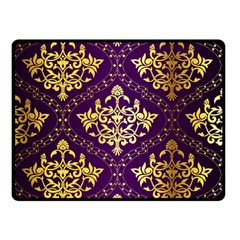 Flower Purplle Gold Double Sided Fleece Blanket (small)  by Mariart