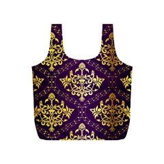 Flower Purplle Gold Full Print Recycle Bags (s)  by Mariart