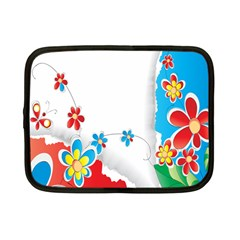 Flower Floral Papper Butterfly Star Sunflower Red Blue Green Leaf Netbook Case (small)  by Mariart