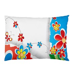 Flower Floral Papper Butterfly Star Sunflower Red Blue Green Leaf Pillow Case by Mariart