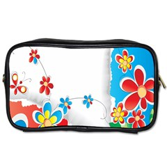 Flower Floral Papper Butterfly Star Sunflower Red Blue Green Leaf Toiletries Bags 2 Side by Mariart