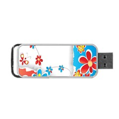 Flower Floral Papper Butterfly Star Sunflower Red Blue Green Leaf Portable Usb Flash (one Side) by Mariart