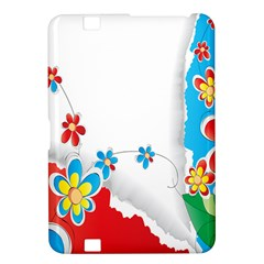 Flower Floral Papper Butterfly Star Sunflower Red Blue Green Leaf Kindle Fire Hd 8 9  by Mariart