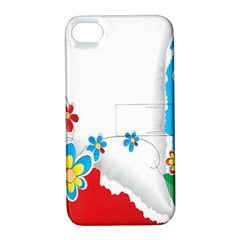 Flower Floral Papper Butterfly Star Sunflower Red Blue Green Leaf Apple Iphone 4/4s Hardshell Case With Stand by Mariart