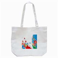 Flower Floral Papper Butterfly Star Sunflower Red Blue Green Leaf Tote Bag (white) by Mariart