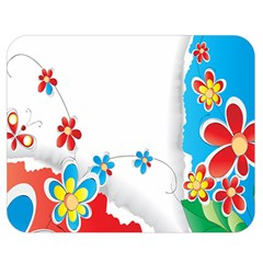 Flower Floral Papper Butterfly Star Sunflower Red Blue Green Leaf Double Sided Flano Blanket (medium)  by Mariart
