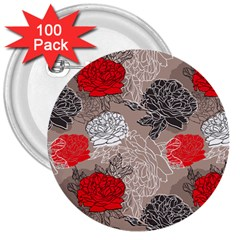 Flower Rose Red Black White 3  Buttons (100 Pack)  by Mariart