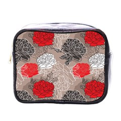 Flower Rose Red Black White Mini Toiletries Bags by Mariart