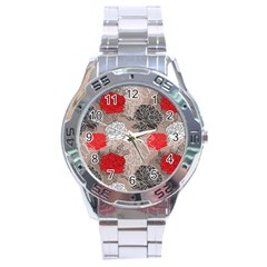Flower Rose Red Black White Stainless Steel Analogue Watch by Mariart
