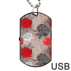 Flower Rose Red Black White Dog Tag Usb Flash (two Sides) by Mariart