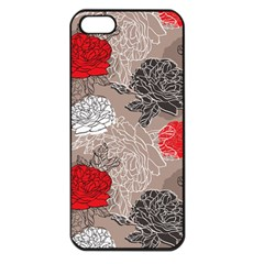 Flower Rose Red Black White Apple Iphone 5 Seamless Case (black) by Mariart