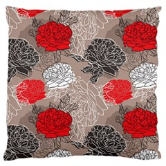 Flower Rose Red Black White Large Flano Cushion Case (two Sides) by Mariart