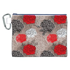 Flower Rose Red Black White Canvas Cosmetic Bag (xxl) by Mariart