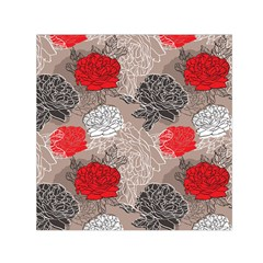Flower Rose Red Black White Small Satin Scarf (square) by Mariart