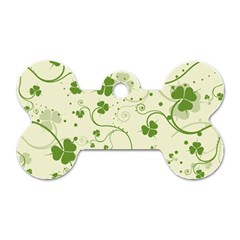 Flower Green Shamrock Dog Tag Bone (two Sides) by Mariart