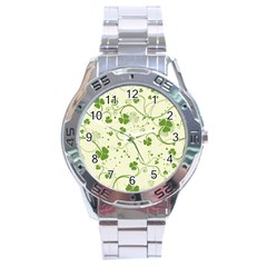 Flower Green Shamrock Stainless Steel Analogue Watch by Mariart