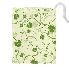 Flower Green Shamrock Drawstring Pouches (xxl) by Mariart