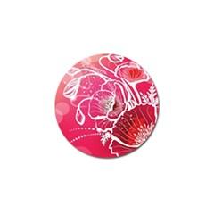 Flower Red Sakura Pink Golf Ball Marker by Mariart