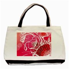 Flower Red Sakura Pink Basic Tote Bag (two Sides) by Mariart
