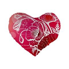 Flower Red Sakura Pink Standard 16  Premium Flano Heart Shape Cushions by Mariart