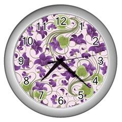 Flower Sakura Star Purple Green Leaf Wall Clocks (silver)  by Mariart
