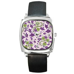 Flower Sakura Star Purple Green Leaf Square Metal Watch by Mariart