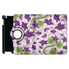 Flower Sakura Star Purple Green Leaf Apple Ipad 3/4 Flip 360 Case by Mariart