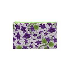 Flower Sakura Star Purple Green Leaf Cosmetic Bag (xs) by Mariart