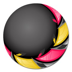 Hole Circle Line Red Yellow Black Gray Magnet 5  (round) by Mariart