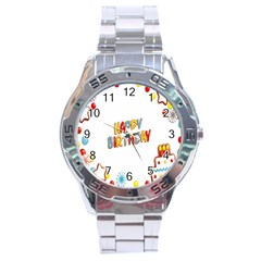 Happy Birthday Stainless Steel Analogue Watch by Mariart