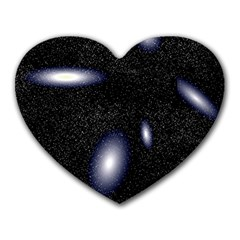 Galaxy Planet Space Star Light Polka Night Heart Mousepads by Mariart
