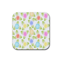 Fruit Grapes Purple Yellow Blue Pink Rainbow Leaf Green Rubber Square Coaster (4 Pack)  by Mariart