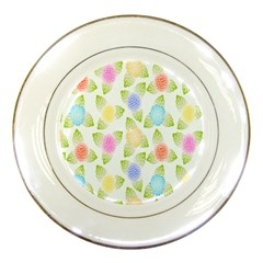 Fruit Grapes Purple Yellow Blue Pink Rainbow Leaf Green Porcelain Plates by Mariart