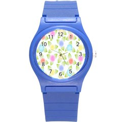 Fruit Grapes Purple Yellow Blue Pink Rainbow Leaf Green Round Plastic Sport Watch (s) by Mariart