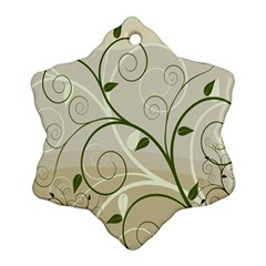 Leaf Sexy Green Gray Snowflake Ornament (two Sides) by Mariart
