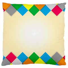 Plaid Wave Chevron Rainbow Color Large Cushion Case (two Sides) by Mariart