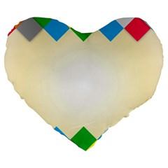 Plaid Wave Chevron Rainbow Color Large 19  Premium Flano Heart Shape Cushions by Mariart