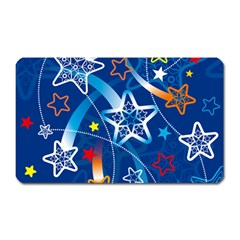 Line Star Space Blue Sky Light Rainbow Red Orange White Yellow Magnet (rectangular) by Mariart