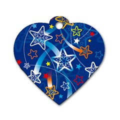 Line Star Space Blue Sky Light Rainbow Red Orange White Yellow Dog Tag Heart (one Side) by Mariart