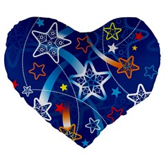 Line Star Space Blue Sky Light Rainbow Red Orange White Yellow Large 19  Premium Flano Heart Shape Cushions by Mariart