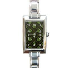 Leaf Green Rectangle Italian Charm Watch by Mariart