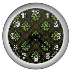 Leaf Green Wall Clocks (silver)  by Mariart