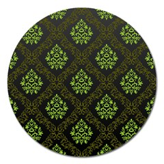 Leaf Green Magnet 5  (round) by Mariart