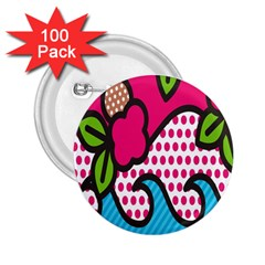 Rose Floral Circle Line Polka Dot Leaf Pink Blue Green 2 25  Buttons (100 Pack)  by Mariart