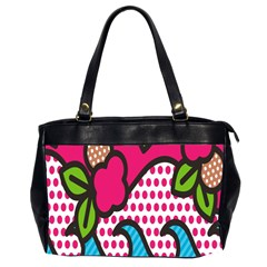 Rose Floral Circle Line Polka Dot Leaf Pink Blue Green Office Handbags (2 Sides)  by Mariart