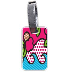 Rose Floral Circle Line Polka Dot Leaf Pink Blue Green Luggage Tags (one Side)  by Mariart
