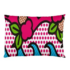 Rose Floral Circle Line Polka Dot Leaf Pink Blue Green Pillow Case (two Sides) by Mariart